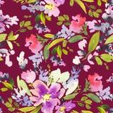 Bezszwowy wzór z kwiat akwarelą Obrazy Stock