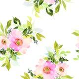 Bezszwowy wzór z kwiat akwarelą Zdjęcia Stock