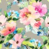 Bezszwowy wzór z kwiat akwarelą Delikatni kolory femaleness Obrazy Stock