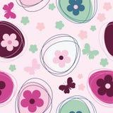 Bezszwowy wzór z kwiatami i Easter jajkiem Obrazy Stock