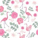 Bezszwowy wzór z kwiatami i flamingami ilustracja wektor
