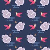 Bezszwowy wzór z kwiatami i hummingbirds Fotografia Royalty Free