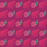 Bezszwowy wzór z kwiatami i wielobokami Fotografia Royalty Free
