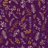 Bezszwowy wzór z kwiatami na ciemnym tle ilustracji