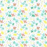 Bezszwowy wzór z kwiatem i liśćmi Zdjęcia Stock