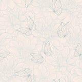 Bezszwowy wzór z kwiatu motylem i dalią ornament kwiecisty Pociągany ręcznie konturowe linie i uderzenia Zdjęcie Royalty Free