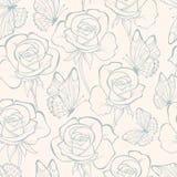 Bezszwowy wzór z kwiatu motylem i różami ornament kwiecisty Pociągany ręcznie konturowe linie i uderzenia retro tło Zdjęcie Stock