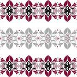 Bezszwowy wzór z kwiecistymi elementami na bielu Zdjęcie Stock