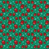 Bezszwowy wzór z ladybirds i kroplami ilustracji