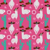 Bezszwowy wzór z lamą, alpagą, kaktusem i projektów elementami na różowym tle, Wektorowa r?ka rysuj?ca ilustracja Południowy Amer royalty ilustracja