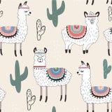 Bezszwowy wzór z lamą i kaktusem wektorowa ilustracja dla tkaniny, tkanina, tapeta royalty ilustracja