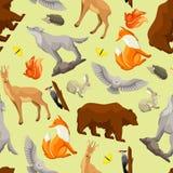 Bezszwowy wzór z lasów lasowymi zwierzętami ptakami i samolotu samolotowego tła błękitny projekta elementu ilustraci strumień wyk Obrazy Royalty Free