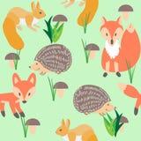 Bezszwowy wzór z lasowymi zwierzętami wiewiórki, jeż ilustracji