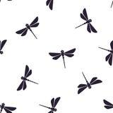 Bezszwowy wzór z latającym dragonfly z prostym ciałem ilustracji