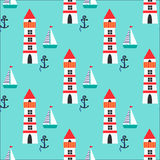 Bezszwowy wzór z latarnią morską, statkiem i kotwicą, Zdjęcie Royalty Free