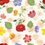 Bezszwowy wzór z lato kwiatami ilustracja wektor