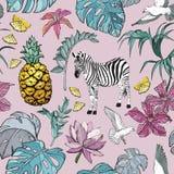 Bezszwowy wzór z lato Tropikalnymi kwiatami, liście, zebra, ptaki i owoc, ilustracja wektor