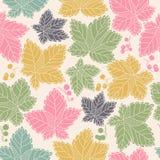 Bezszwowy wzór z liśćmi i jagodami Fotografia Royalty Free