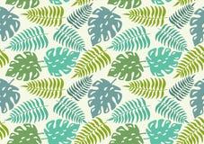 Bezszwowy wzór z liśćmi tropikalne rośliny również zwrócić corel ilustracji wektora royalty ilustracja