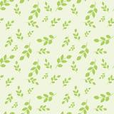 Bezszwowy wzór z liśćmi umieszczającymi przypadkowo na jasnozielonym tle ilustracja wektor