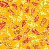 Bezszwowy wzór z liśćmi w żółtych kolorach royalty ilustracja