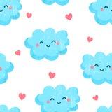 Bezszwowy wzór z ślicznymi chmurami i sercami Ornamentuje dla dziecka ` s tkanin Mieszkanie styl wektor Zdjęcie Stock