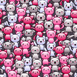 Bezszwowy wzór z ślicznymi kawaii doodle kotami Zdjęcie Royalty Free