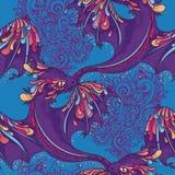Bezszwowy wzór z ślicznymi kolorowymi smokami Fotografia Royalty Free