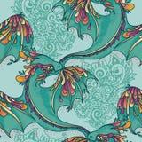 Bezszwowy wzór z ślicznymi kolorowymi smokami Obraz Stock