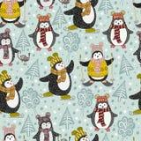 Bezszwowy wzór z ślicznymi kreskówka pingwinami Zdjęcia Stock