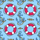 Bezszwowy wzór z lifebuoys i kotwicami Zdjęcia Royalty Free