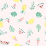 Bezszwowy wzór z lody i owoc Zdjęcie Royalty Free
