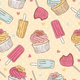 Bezszwowy wzór z lody i tortem Obrazy Stock