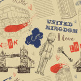 Bezszwowy wzór z Londyńskimi punktów zwrotnych symbolami Rocznik ręka rysująca wektorowa ilustracja Fotografia Royalty Free