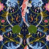 Bezszwowy wzór z lotosem i karpiami ilustracja wektor