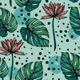 Bezszwowy wzór z lotosowymi kwiatami, monstera leves i ręki rysować kropkami, ilustracji