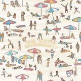 Bezszwowy wzór z ludźmi przy plażą ilustracja wektor