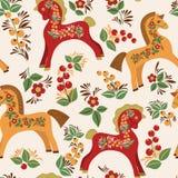 Bezszwowy wzór z ludowymi koniami Obraz Royalty Free