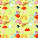 Bezszwowy wzór z ludzkim kierowym organem, płuca, wątróbka, oczy, e Zdjęcie Royalty Free