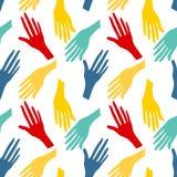 Bezszwowy wzór z ludzkimi rękami Kolorowy jaskrawy backround ilustracja wektor