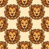 Bezszwowy wzór z lwem royalty ilustracja
