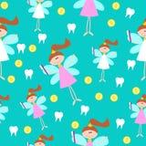 Bezszwowy wzór z Małą Śliczną ząb czarodziejką z zębami Obraz Royalty Free