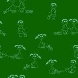 Bezszwowy z dziewczynami i chłopiec na zieleni royalty ilustracja