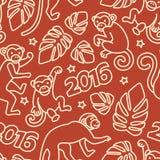 Bezszwowy wzór z małpa symbolem 2016 rok Obrazy Stock