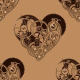 Bezszwowy wzór z machinalnymi sercami ilustracji
