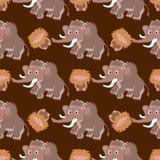 Bezszwowy wzór z mamutami Zdjęcie Royalty Free