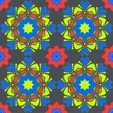 Bezszwowy wzór z mandalas w pięknych kolorach Wektorowy tło Fotografia Stock