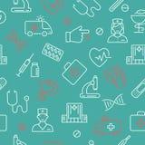 Bezszwowy wzór z medycznymi symbolami ilustracja wektor