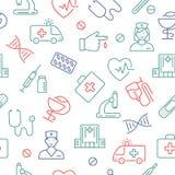 Bezszwowy wzór z medycznymi symbolami ilustracji