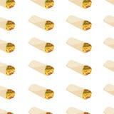 Bezszwowy wzór z meksykańskim burrito Zdjęcie Stock